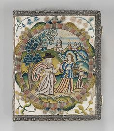 Book Cover, English ca 1649. Satin worked with silk and metal thread, spangles; knot, tent, and couching stitches; silver metal thread edging.