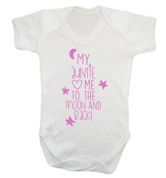 New to FloxCreative on Etsy: My auntie loves me to the moon and back baby vest grow pink blue gold red cute uncle niece nephew newborn birthday gift baby shower 426 (7.95 GBP)