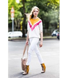 @Who What Wear - Colorblock Sweater + White Jeans  Get The Look: Madewell Outfield Pullover Sweater ($80); ASOS Whitby Low Rise Skinny Jeans ($58) in White  Image via A Love Is Blind