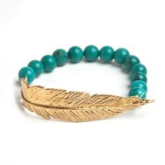 Leivankash Gold Feather Bead Bracelet ($252) ❤ liked on Polyvore featuring jewelry, bracelets, turquoise, yellow gold jewelry, beading jewelry, beaded bangles, beaded jewelry and feather bangle