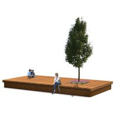 hardwood podium for public space with plant box. StreetLife