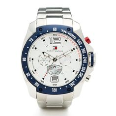 Grand Prix Watch  -  Stylish men's quartz sports watch   • Round, metal case with white dial   • Chronograph and date functions   • Tommy Hilfiger logo inside the dial   • Polished, silver-toned metal strap   • Water resistance:...