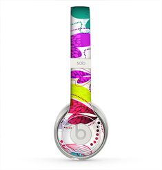The Vibrant Neon Vector Butterflies Skin for the Beats by Dre Solo 2 Headphones from Design Skinz, INC.