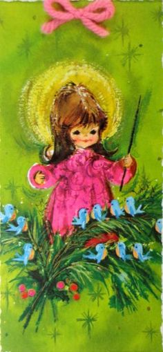 vintage Christmas Card - Cute Angel Card - girl or angel in pink dress, conducting a chorus of bluebirds, yarn bow at the top of card.