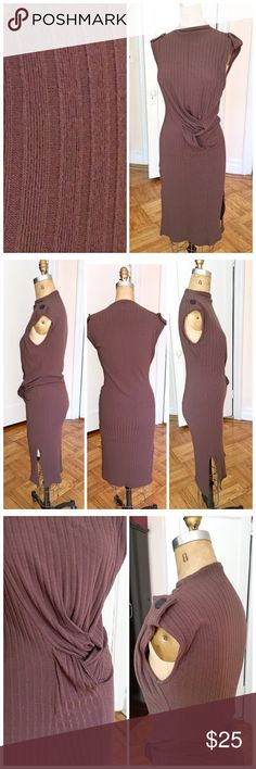 "Mocha knotted up knot bodycon midi Nwt mocha brown knit bodycon with braided hip detail. Size medium. Shoulder button accents and ribbed fabric. Fits true to size. Length approx 40"". Bust line approx 15"". Fully lined. Polyester and spandex blend - nice and stretchy! boutique Dresses Midi"