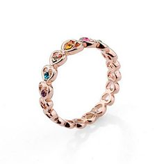 LovEnter 18K Yellow Gold Plated Heart in Heart with colouful crystal fashion ring