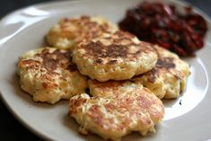 Cheesey Cauliflower Fritters with Warm Pepper Relish