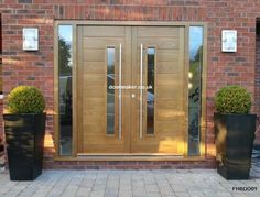 contemporary double doors Contemporary Double Doors FHB with vision panels and fully glazed sidelights European Oak FHBDD01 Overall frame Sizes: 2310mm x 2120mm