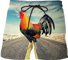 Roost 66 Mens design Swim Shorts. Music Festival Fashion, Mens Swim Shorts, Halloween Costumes, Swimming, Animals, Rooster, Design, Nice, Animales