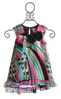 Le Pink Little Girls Dress in Pucci Swirls