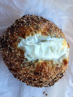 Everything bagel with an egg baked in the middle, from Bergen Bagels, Brooklyn, NY