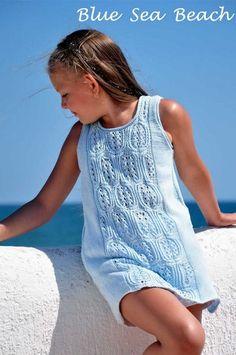 Diy Crafts - Blue Sea Beach Summer Dress Knitting pattern by Natalie Pelykh Christmas Knitting Patterns, Knit Patterns, Sweater Patterns, Crochet Pattern, Taurus Woman, Taurus Taurus, Girls Tunics, Baby Scarf, Dress Gloves