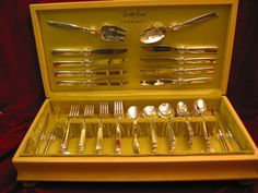 Oneida-South-Seas-Silverplate-Dinner-Set-Chest-Community-Flatware-79-pc-Lot