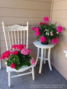 Decorating with Flowers White chair and table with pink geraniums at corner of front porch with Flowers White chair and table with pink geraniums at corner of front porchWhite chair and table with pink geraniums at corner of front porch Porch Table, Porch Chairs, Garden Chairs, Rattan Chairs, Metal Chairs, Arm Chairs, Balcony Garden, Lounge Chairs, Front Porch Flowers