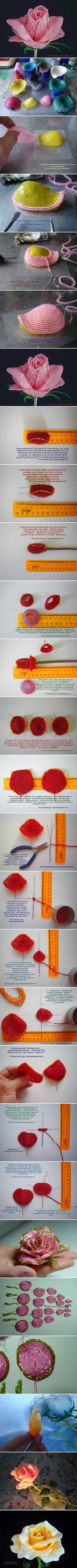 DIY French Beaded Rose DIY French Beaded Rose. //  THESE PICTURES ALONE ARE AN INCREDIBLE TUTORIAL!!! [Wish we could start with the one on the bottom!]  ♥A