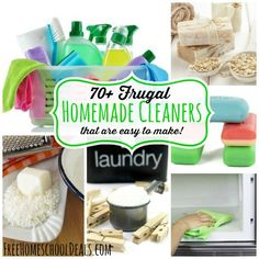 70+ Frugal Homemade Cleaners that are Easy to Make!   - including homemade laundry detergent, homemade soaps, stain remover, homemade toothpaste, plus many more!