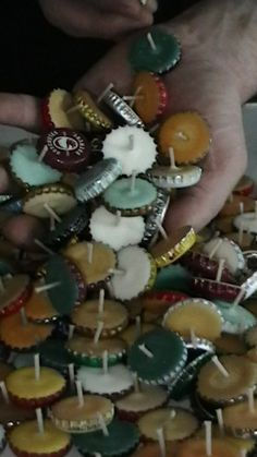 Make little candles out of old bottle caps - so cute.