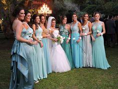 Casamento no campo! Madrinhas! Tons azul tiffany! Degrade!