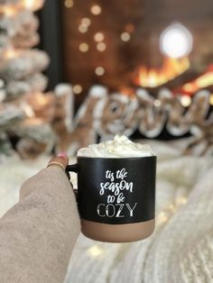 I love this Tis the Season to Be Cozy Mug - it's sooo perfect for all my holiday drinks! I love hot cocoa in the winter and peppermint mochas during the holidays! Cheers to this cute mug that has a farmhouse holiday vibe to it too! Christmas Feeling, Cozy Christmas, All Things Christmas, Christmas Time, Christmas Crafts, Black Christmas, Xmas, Grinch Christmas, Christmas Pictures