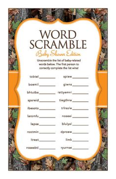 Instant Download Camo Baby Word Scramble Game by Studio20Designs