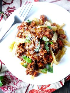 My absolute favorite Bolognese Pasta Sauce! I've adapted it over the years from Geoffrey Zacharian's recipe. My version takes less time and is a bit healthier. #dairyfree