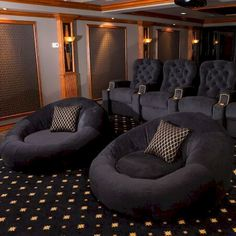 Awesome Small Living Room Decor Ideas - Home Theater Rooms Home Theater Room Design, Movie Theater Rooms, Home Cinema Room, Home Theater Seating, Basement Movie Room, Cinema Room Small, Theater Seats, Movie Rooms, Home Theatre Rooms