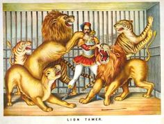 Vintage Circus Lion Tamer Poster Ipad Covers by TheVintageVamp Old Circus, Circus Art, Circus Theme, Night Circus, Circus Clown, Image Lion, Vintage Circus Posters, Lion Tamer, Circo Vintage