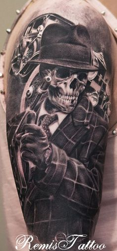 Gangster skull tattoo, black and grey tattoo by Remis remistattoo realistic tattoo ink ideas designs arm halfsleeve sleeve inspiration