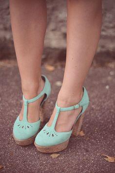 Mint T-strap Shoes #heels #platforms