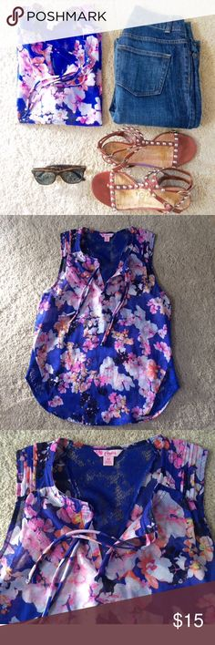 """Floral Sleeveless❤️ Pretty royal blue sleeveless sheer top. Lace """"v"""" back. Worn once. Runs a bit large for a medium.  💙 Tops Blouses"""