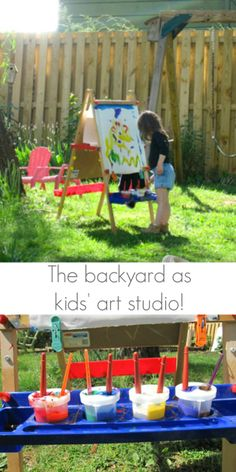 Using the kids easel in the backyard -- Awesome! -- Can't wait until the weather is warmer! backyard art, kid easel