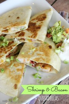 Easy to make quesadillas filled with grilled shrimp, bacon, green onions, and pepperjack cheese.