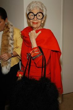 Iris Apfel is an American businesswoman, interior designer, and fashion icon. She is 93 years old!