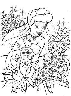 Princess Cinderella and many flowers coloring page for kids, disney princess coloring pages printables free - Wuppsy.com