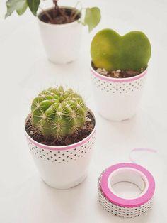 washi tape mini plant pots