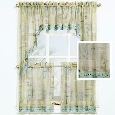 Delicieux Seascape Beach Theme Kitchen Curtain Ensemble Witth Beaded Shell Trim