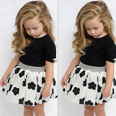 >> Click to Buy << 2017 Fashion Cute Baby Girls Kids Short Sleeve Summer T-Shirt Skirts Outfits Set Dress 1-6Y Clothes Sets #Affiliate