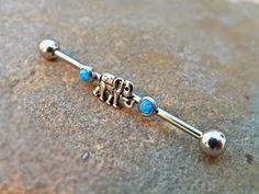 Elephant Tiny Blue Fire Opal Industrial Barbell 14ga Upper Ear Piercing Body Jewelry