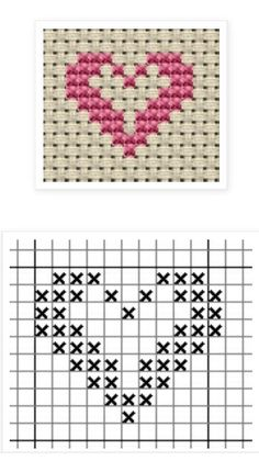 tiny heart x-stitch