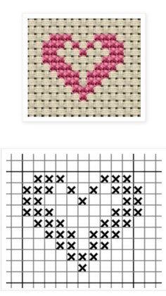 tiny heart x-stitch