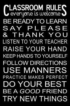 classroom rules poster - Google Search