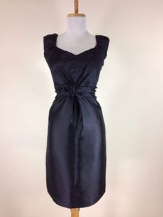 Moschino Black Silk Dress Size 8 Sheath Career Work Cocktail Ruched Shoulders #Moschino #Sheath #CocktailWorkCareer