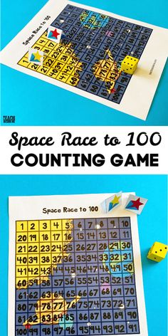 Space race to 100 counting game- Space-themed math game for kids Solar System Activities, Space Activities, Printable Activities For Kids, Activity Ideas, Science Activities, Free Printables, Math For Kids, Fun Math, Homeschool Math Curriculum