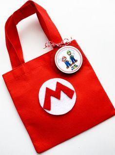 Set of 12 Super Mario Bros Favor Bags with Personalized Thank You Tags, Mario Favor Bags, Mario Goody Bags, Mario Party, Mario Birthday