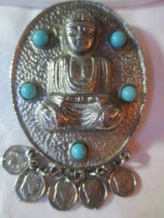 Tibetan Oriental Buddha Pendant Faux Turquoise Coins Dangle | eBay http://stores.ebay.com/jsamericana