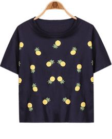 Navy Short Sleeve Pineapple Print Loose T-Shirt - Sheinside.com