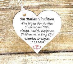 100 Custom Jordan Almond Tags - 5 Almond Wishes , Five Wishes Poem, Italian Custom, 2 inch heart shape -Wedding Bomboniere