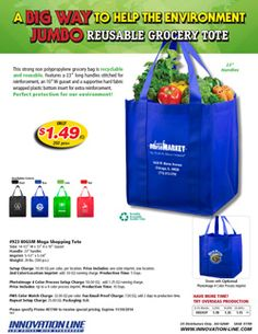 """14-1/2"""" W x 13"""" H - 80GSM Mega Shopping Tote - Innovation Line ON SALE"""