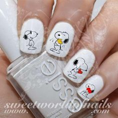 Snoopy Nail Art Love Red Heart Nail Water Decals Water Slides 20 water decals on a clear water transfer which can be applied over any color varnish on either yo