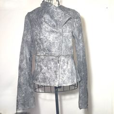 BLANC NOIR LEATHER MOTO JACKET SMALL Marbled grey washed. Thin soft 100% leather. Zipper functioning front making a funnel neckline. Hidden button closure. Zipper functions at mid torso and forearms. Never worn. Retail $298 Blanc Noir Jackets & Coats Blazers